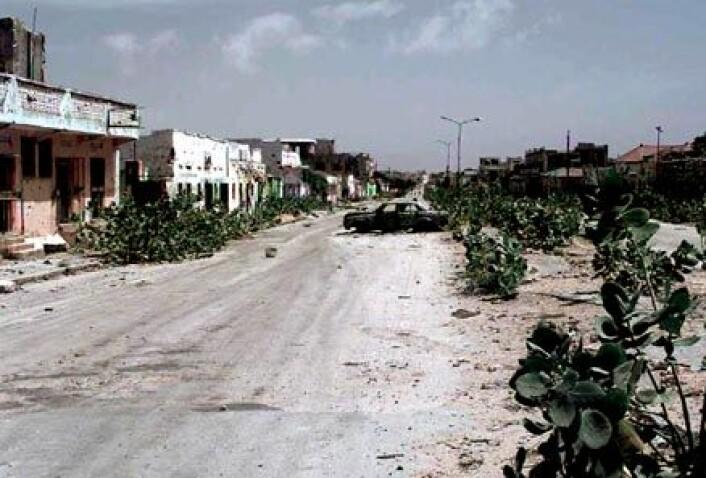 """En gate i Mogadishu, som tidligere skilte to ulike klaner. (Foto: Wikimedia commons)"""