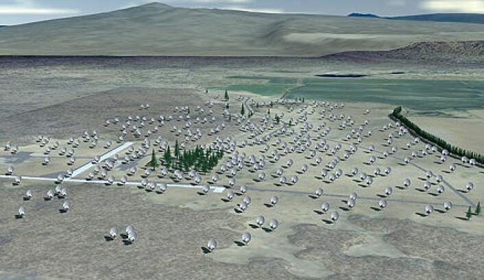 """""""Radioteleskopene ved Allen Telescope Array i Califonia brukes blant annet til å søke etter tegn til intelligent liv i rommet."""""""