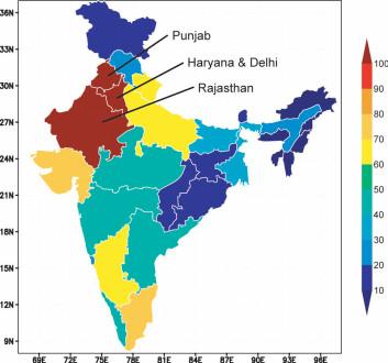Kartet viser indiske myndigheters beregninger av hvilke delstater som mister grunnvann. Rødt indikerer nedgang, blått økning. De tre delstatene i studien basert på GRACE-data er avmerket. (Illustrasjon: NASA/Matt Roddell)