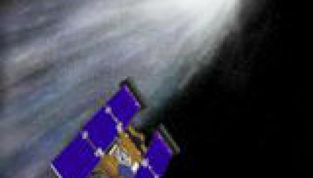 """""""Slik kan det ha sett ut med Spirit hakk i hel på Wild2. (Illustrasjon: NASA)"""""""