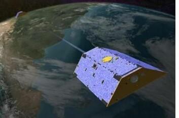 GRACE består av to satellitter som flyr parallelt og måler jordas tyngdefelt. Dette er to av de mange satellittene som hjelper oss til å forstå klodens klimautvikling.