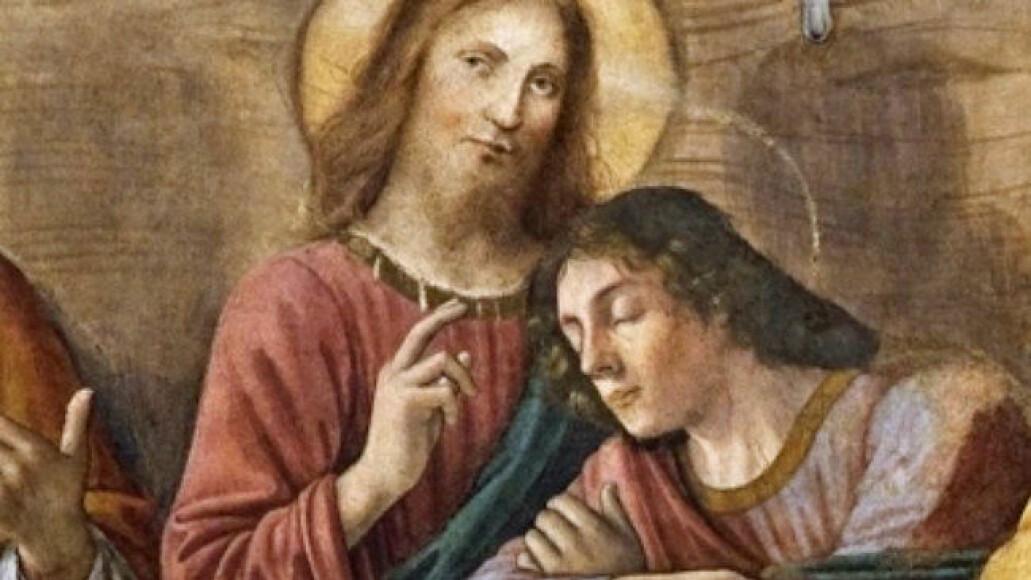 Dette er et utsnitt av Jesus og Johannes fra Ghirlandaios Det siste måltid som henger i San Marco-klosteret i Firenze. Bildet er fra siste halvdel av 1400-tallet. (Maleri: Domenico Ghirlandaio)