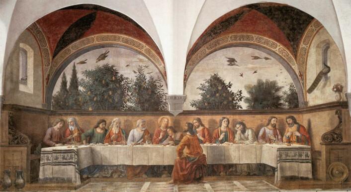 Slik ser hele bildet 'Det siste måltid' av Domenico Ghirlandaio ut. (Maleri: Domenico Ghirlandaio)