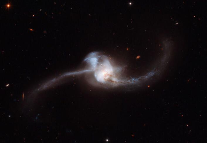 To galakser krasjer sammen i stjernebildet Krepsen. (Foto: NASA/ESA Hubble Space Telescope)