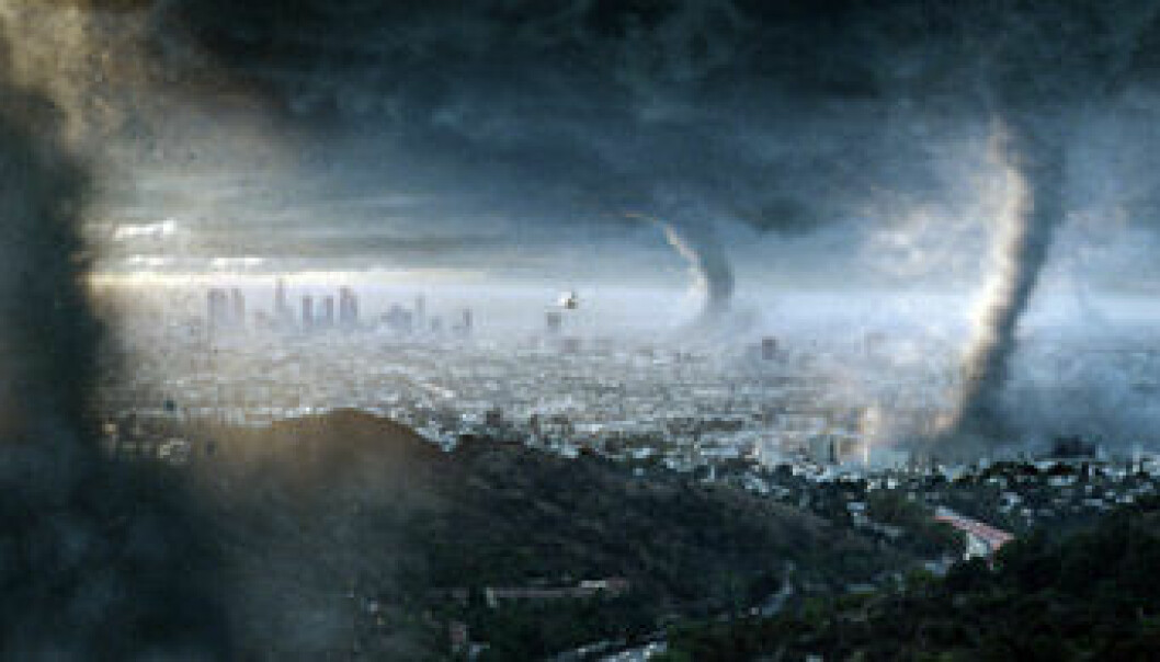 """""""En kjempebølge skyller inn over New York i en av filmens mest dramatiske scener. (Foto: Fox Film)"""""""