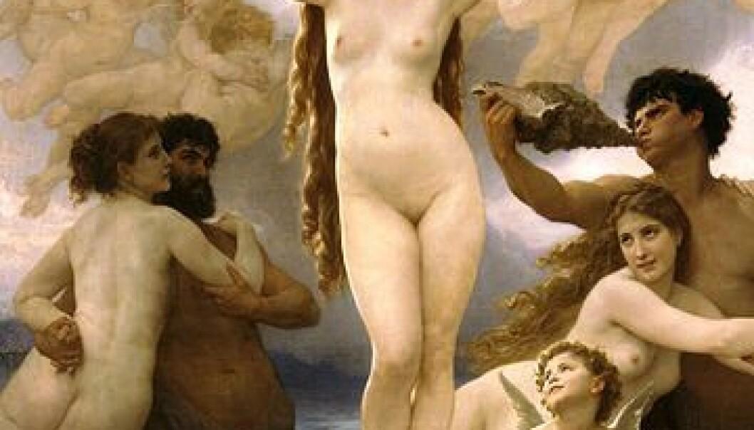 """""""Timeglassidealet er ikke nyoppfunnet, men hvor fundamental er det? """"Venus' fødsel"""" ble malt av Wilhelm Adoplhe Bouguereau i 1879. (Kilde: Wikimedia Commons)"""""""