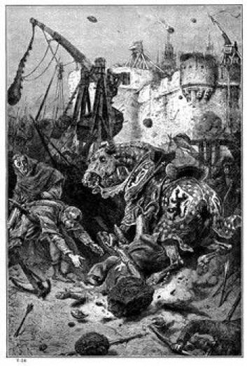 """""""Katapulter ble brukt for å kaste infiserte likdeler over murene til fienden både ved Hainault og ved Kaffa."""""""
