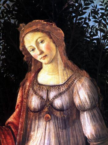 """Hemmeligheten bak kvinnelig skjønnhet er tallfestet. Bildet viser Venus, utsnitt av """"Primavera"""" (våren) av Sandro Boticelli. (Foto: Wikimedia Commons)"""