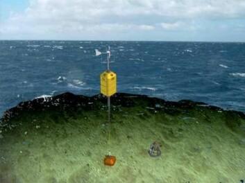"""""""Hermes Lander"""" er et laboratorium på havbunnen som har vært utstasjonert i Nordland. Her med overflatebøye med satellittsender og vindmølle for produksjon av strøm til enheten. (Illustrasjon: Havforskningsinstituttet)"""