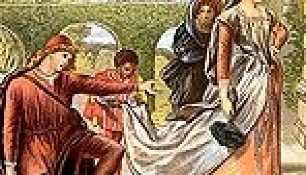 Her ser vi John Gilberts illustrasjon fra Hellig tre kongersaften i en utgave fra 1875. Tidens gang er gjengitt ved de fire karakterenes forskjellige aldre og det sviktende lyset, som gir ekko fra sangtittelen bildet illustrerer: Come Away Death.
