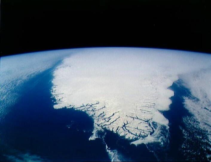 Dette bildet av Grønland er tatt fra rommet. (Foto: NASA Johnson Space Center)