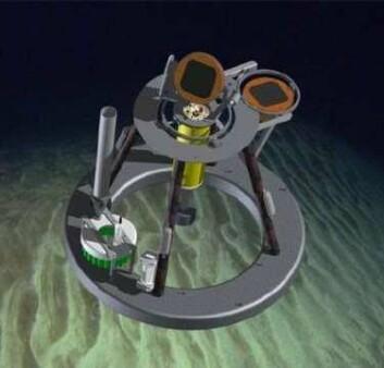 """Hermes Lander"""" er utstyrt med en rekke sensorer som fanger opp levende organismer og miljø på havbunnen. (Illustrasjon: Havforskningsinstituttet)"""