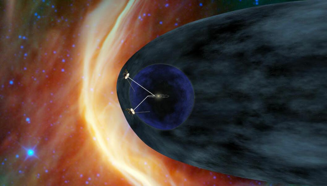 En kunstners framstilling av de to Voyager-sondene. Sola og planetene er tegnet i midten av det blå området. Voyager 1 er nå inne i heliopausen, området som på illustrasjonen er farget grått, der solvinden endrer karakter. Utenfor venter interstellare vinder. (Illustrasjon: NASA-JPL/Caltech)