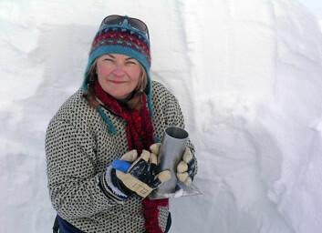 Glasiolog Elisabeth Isaksson fra Norsk Polarinstitutt under årets feltarbeid på Lomonosovfonna på Svalbard. (Foto: Sanja Forsström)