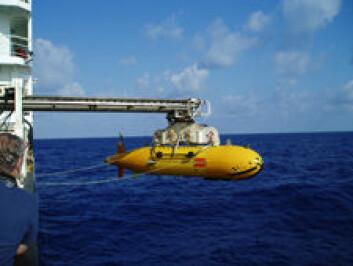 Denne ubemannede ubåten, kalt en Autosub6000, utforsket havbunnen på jakt etter varmekilder. (Foto: Rolf-Birger Pedersen)