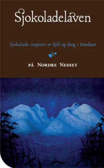 Etikett fra Sjokoladelåven med motivet Vinternatt i Rondane av Harald Sohlberg.