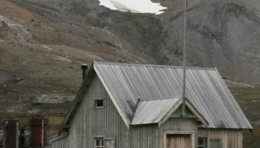 Gjenstående bygninger etter marmorbruddet i Ny-London på Blomstrandhalvøya i Kongsfjorden. Hele anlegget er automatisk fredet. Svært mange fredete bygninger på Svalbard står helt nede på bakken, ofte med en liten jordvoll opp mot ytterveggen for å beskytte mot trekk. Dette gir ofte svært kraftig fuktbelastning over sommersesongen. (Foto: Anne-Cathrine Flyen)