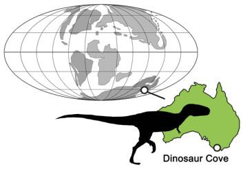 Den første slektningen til T. rex på den sørlige halvkule ble funnet i Dinosaur Cove i Australia. Dette oversiktskartet viser plasseringen til Dinosaur Cove for rundt 110 millioner år siden. (Foto: © Dr. Roger Benson, Cambridge)