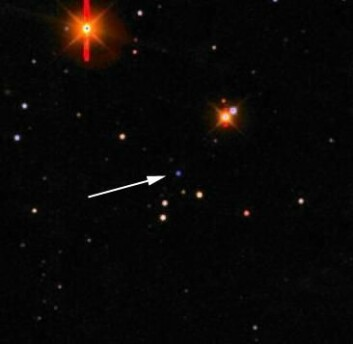"""""""Bildet er tatt ved det danske teleskopet i La Silla. Gammaglimtet/supernovaen er det blålige objektet som pilen peker på. De andre objektene i bildet er stjerner i vår egen galakse og fjerntliggende galakser."""""""