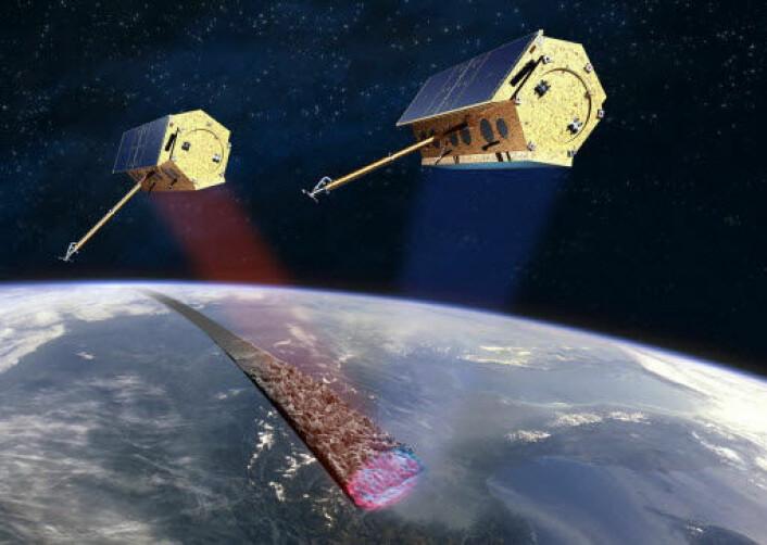 Satellittene TerraSAR-X og TanDEM-X. (Illustrasjon: EADS Astrium)