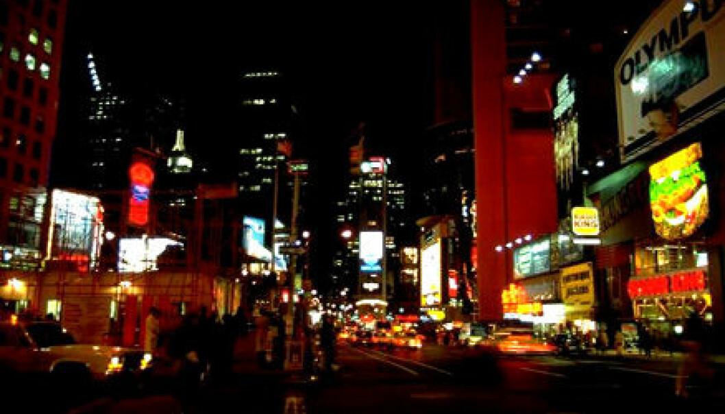 """Reklamen preger Times Square i New York."""
