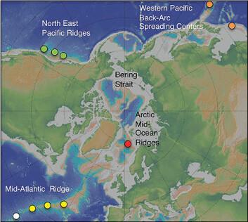 Lokefeltet ligger nord på den midtatlanterske rygg. Feltet ble oppdaget i 2005. UiB-forskere har studert området siden 2008.  (Illustrasjon: Senter for geobiologi/UiB)