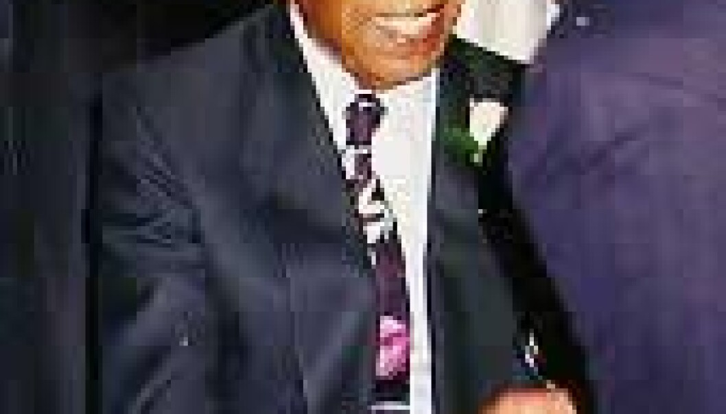 """""""Herman Shaw, deltager i Tuskegee-studien, etter seremonien i det hvite hus."""""""