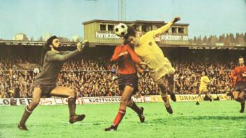 Det viktigste målet i nordnorsk fotballhistorie? Sturla Solhaug header inn 1-0 til Bodø/Glimt i cupfinalen mot Vard i 1975. (Fotograf ukjent)