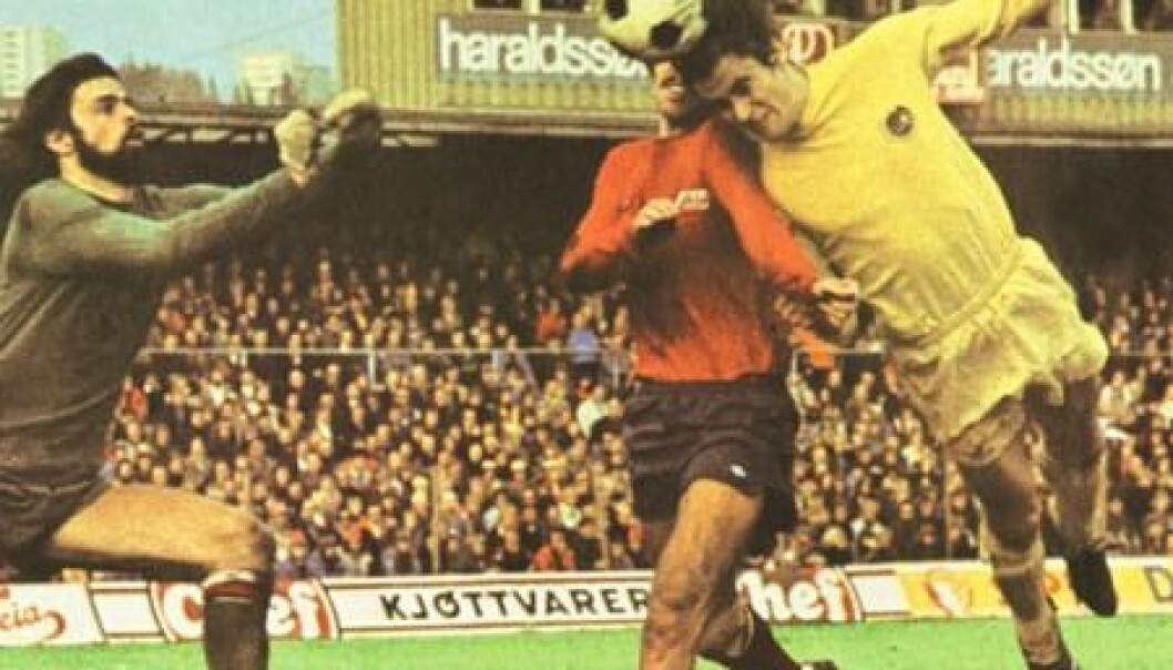Det viktigste målet i nordnorsk fotballhistorie? Sturla Solhaug header inn 1-0 til Bodø/Glimt i cupfinalen mot Vard i 1975.