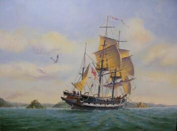 HMS Beagle, malt av australske Ron Scobie.