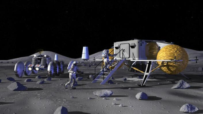 Månebase. (Illustrasjon: NASA)