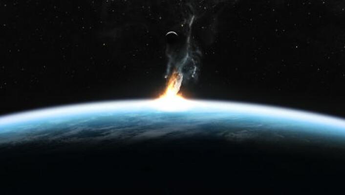 """""""Sankar Chatterjee og forskerteamet hans tror at en asteroide som slo ned utenfor India for 65 millioner år siden var med på å utrydde dinosaurene. (Illustrasjon: iStockphoto)"""""""