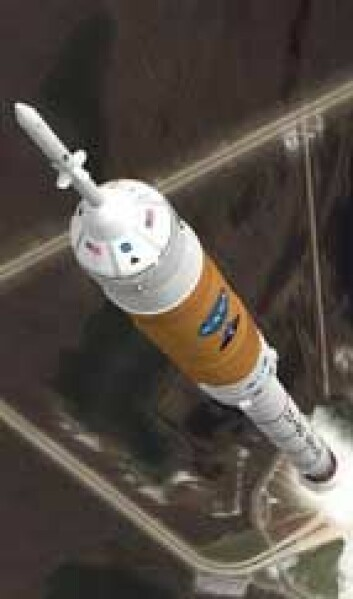 Ares I-raketten får trolig ikke fly likevel og Ares V blir ikke utviklet etter at president Obama satt en stopper for hele Constellation-programmet. (Illustrasjon: NASA)