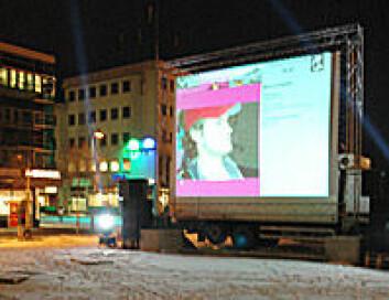 """""""I PICYBU-prosjektet har Norut IT utviklet ei elektronisk tavle. Denne ble brukt under Tromsø Internasjonale Filmfestival i januar 2006. """""""