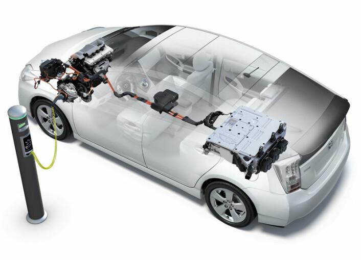 Toyota Prius plugginn-hybrid, prinsipptegning (Illustrasjon: Toyota)