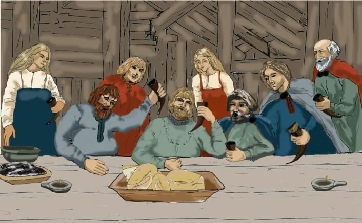 """""""Julegilde i vikingtiden (Illustrasjon: Aud Beverfjord)"""""""