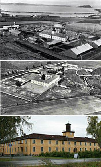 Falstad leir fotografert i 1945 (øverst), 1950 og 2009. SS-leiren huset mer enn 5000 krigsfanger fra Norge, Russland, Polen og Jugoslavia. Fem år etter krigen var store deler av leiren borte. I dag står bare hovedbygget igjen. (Foto: Falstadsenterets arkiv, Marek E. Jasinski)