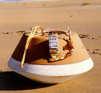 """""""Slik: En modell av kapselen fra Stardust ble prøvelandet i 1998."""""""