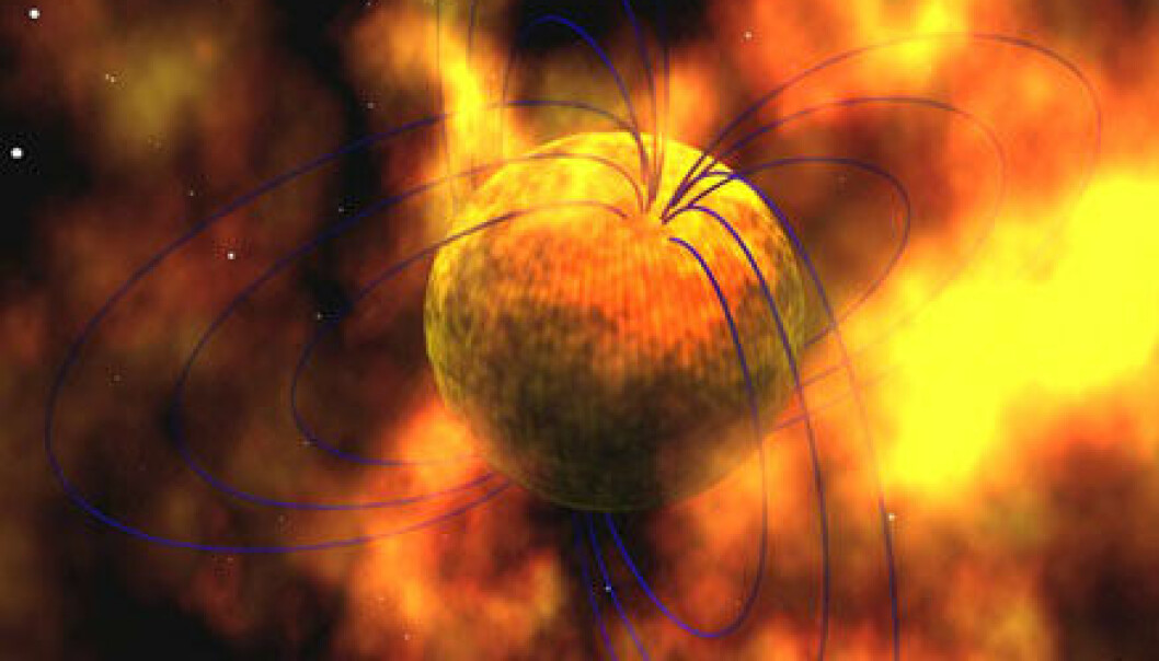 """Slik ser forskerne for seg magnetaren. De blå linjene viser det voldsomme magnetfeltet."""