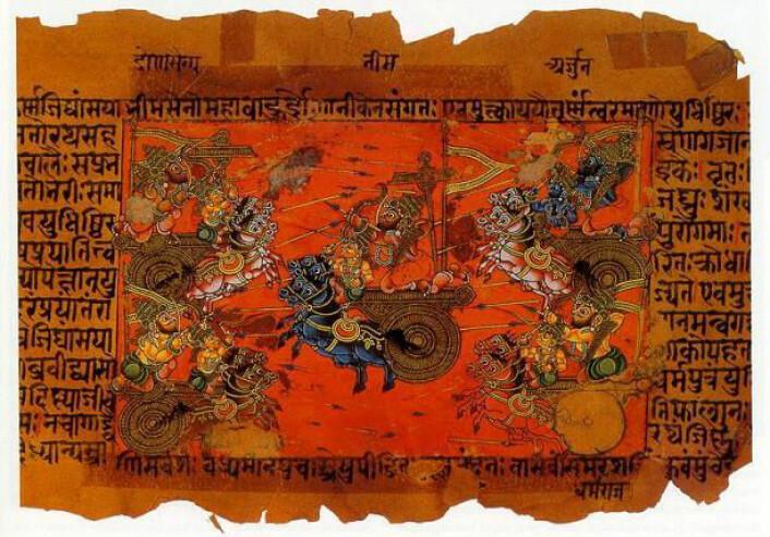Illustrert tekst fra det indiske eposet Mahabharata, som er skrevet på sanskrit. Illustrasjonen viser en krigsscene. (Foto: Wikimedia Commons)