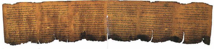 Dette er en av Dødehavsrullene. Wikipedia har også den hebraiske avskriften, og den engelske oversettelsen finner du her. (Foto: Library of Congress/Wikimedia Commons)