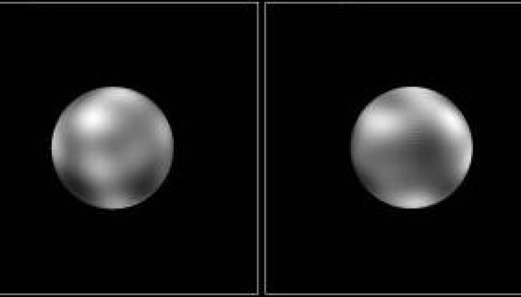 """""""Her ser du et bilde som viser overflatekontraster på Pluto. Bildet er satt sammen av flere foto tatt av romteleskopet Hubble i 1994 ved hjelp av bildebehandling i en datamaskin. Bildene antyder at Pluto har flere storskala kontraster på overflaten, enn noen annen planet. Tilsammen skimter vi 12 regioner som enten er lyse eller mørke."""""""