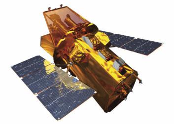 Datagenerert tegning av NASAs satelitt Swift.(Illustrasjon: NASA)