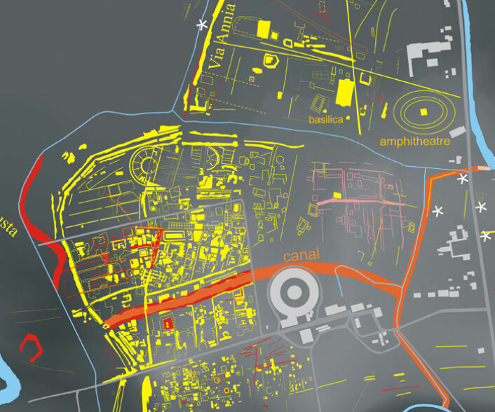 Utsnitt av kart over Altinum. Den store kanalen vises i orange, mens konturene av bebyggelsen er gule. (Foto: Science/AAAS)