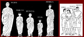 Den typiske romerske kjernefamilien besto av mor, far, tre barn og noen slaver.