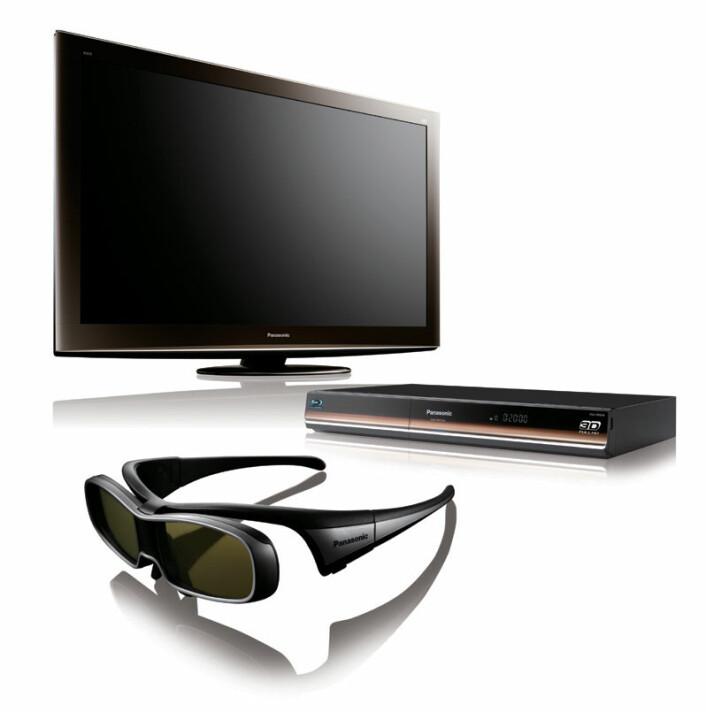 """""""Komplett 3D-anlegg for stua med 3D-fjernsyn, Blu-Ray-spiller og aktive 3d-briller. (Foto: Panasonic)"""""""