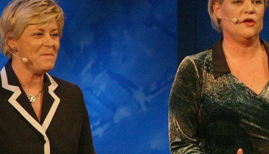Fremskrittspartileder Siv Jensen og finansminister Kristin Halvorsen. (Foto: Kjetil Ree, Wikimedia Commons)