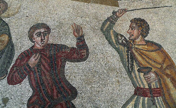 En romersk herre slår sin slave. Siciliansk mosaikk, 300-tallet.