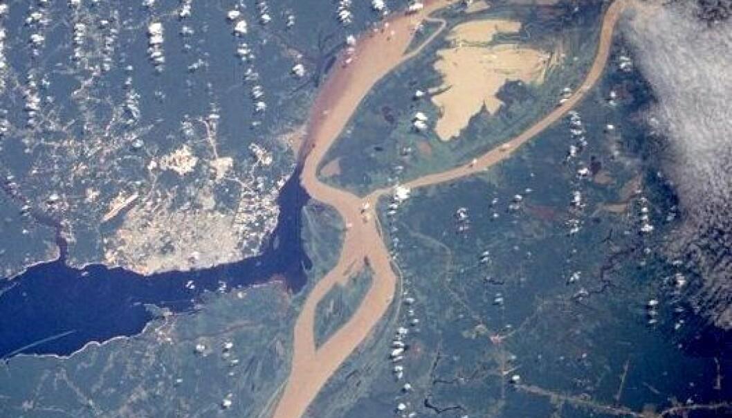 """""""Bilde av Amazonas, tatt fra satelitt. (Foto: NASA)"""""""