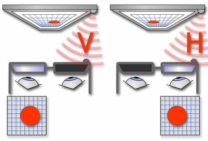 """""""Prinsippet bak aktive 3D-briller: Fjernsynet viser vekselvis venstre og høyre bilde i rask rekkefølge. Brillene synkroniseres av et infrarødt signal fra fjernsynsapparatet slik at brilleglassene åpner og lukker for riktig bilde til riktig øye. (Figur: forskning.no)"""""""